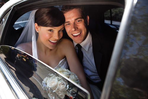 Newly weds in a limo - San Diego Car Service