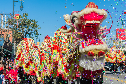Chinese Dragon during Golden Dragon Parade Los Angeles