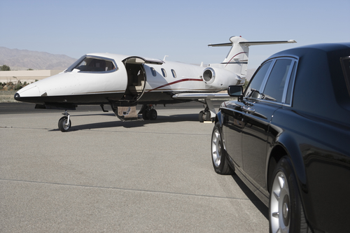 Luxurious Black Car and Private Airplane - Airport Car Service